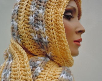 Hooded Scarf, Cornmeal Gold Varigated Shades - Golden Yellow Mixed Colors Scarf- Pixie Hood - Hat and Scarf - Crochet
