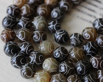 9mm Round Carved Jade - SemiPrecious Beads - Jewelry Making Supplies - 8mm Mala Bead Supply - Spiral Carved Jade - Choose Amount