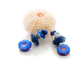 French Blue Lampwork Bead Earrings. Small Drop Earrings. Artisan Disc Beads. Bali Sterling Silver. Mother's Day Gifts. Glass Bead Jewelry.