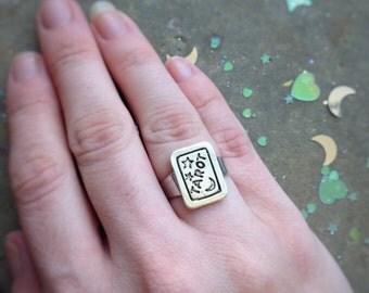Tarot Ring, Moon and Stars