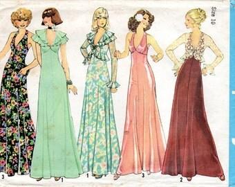 1970s Halter Maxi Dress Pattern - Vintage Simplicity 7229 - Bust 32 1/2 Ruffles Jacket