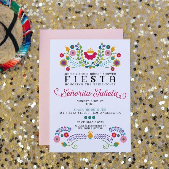 Mexican Wedding Favors Ideas: Fiesta Bridal Shower Invitation Mexican Invitation By