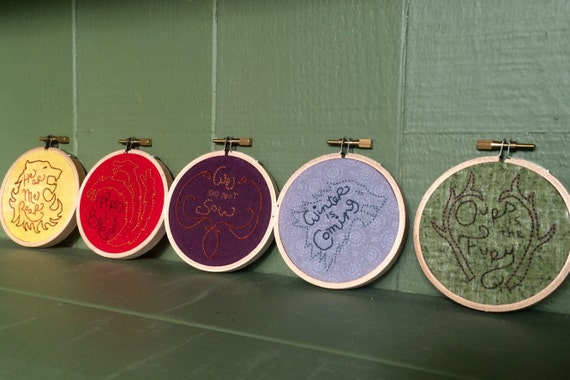 Mini Game of Thrones House Sigils Hand-embroidered Hoops- set of 5