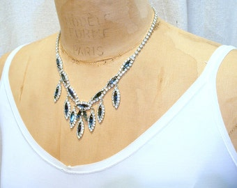 Vintage Art Deco Sapphire Rhinestone Necklace, Silver Navy Blue Bridal Necklace, Something Blue Old Navette Crystal Statement Gatsby Jewelry