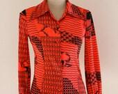 70s vintage blouse, tree motif