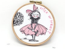 SALE Halloween Decor. Trick or Treat Picture. Fun Childrens Embroidery Hoop Art. Black Pink & White 5x5 Inch Fabric Halloween Wall Decor