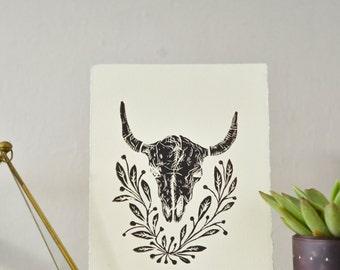 "Skull Linocut Print - 6.75"" X 8.5"""