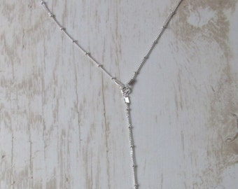 Satellite Lariat Necklace, Long Lariat Necklace, Silver Y Necklace, Small Beaded Sterling Silver Chain Necklace, Delicate Chain