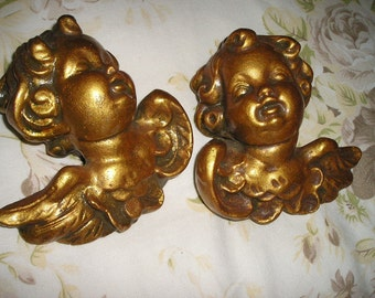 Vintage Pr. Gold gilded Winged Angels/Cherubs/Puttis Ornate Chalkware/plaster Figures Devotional wall Art..