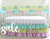 SALE *Bumperless Baby Girl Crib Bedding - Orchid Lavender Aqua Bedding Set for Baby Girl Nursery - Ruffle Teething Rail Cover