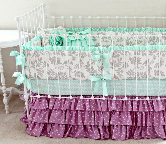 Gray And Purple Baby Bedding Mint And Purple Baby Girl