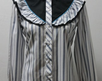 1970's Rockabilly Western Style Blouse by Kenny Rogers, Striped, Ruffle Accent, Prairie Blouse, M/L  #60190