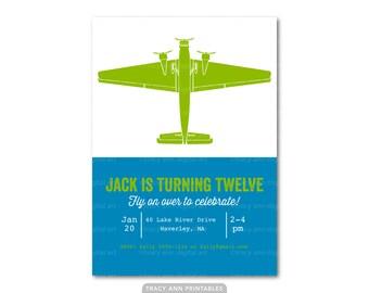 Boy Birthday Invitation, 8th, 9th, 10th, 11th, 12th, Birthday Invitation, Plane, Aircraft, Aeroplane Printable Digital,  Blue and Lime 1043