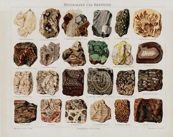 1889 Antique MINERALS and GEMS lithograph, precious stones, gemstones, quartz, rocks, stones