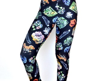 Printed Leggings Crystals and Gems / Womens Yoga Leggings / High Waisted Athletic Wear Compression fit / Vintage Illustration / L2201