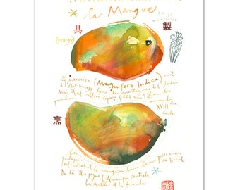 Mango print, Watercolor fruit painting, Colorful wall art, Kitchen poster, Food artwork, 8X10 print, Kitchen wall art, Fruit illustration