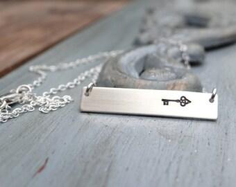 Vintage Skeleton Key Sterling Silver Bar Necklace. Hand Stamped Jewelry.  Minimalist, Engraved Necklace.  Layering Bar Necklace, Key Jewelry