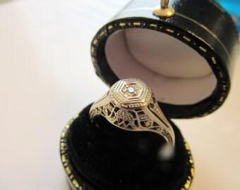 Antique Edwardian  18KT White Gold 1900s Diamond  Filgreed Wedding Ring