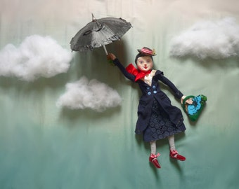 Mary Poppins Art Doll, OOAK Doll, Paperclay and Cloth Doll