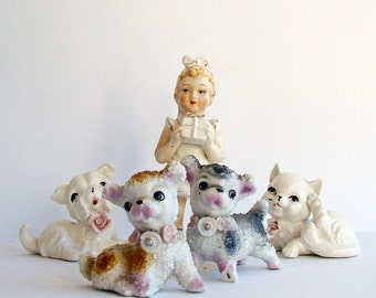 Girl Figurine with Puppies and Kittens, Dogs and Cats, Bisque Figurine, Kitsch Ornaments, Collection of