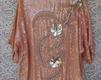 Vintage Sequined Tunic Top Dusty Rose Large XL