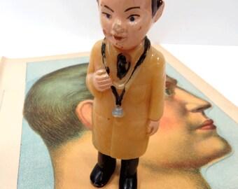 Doctor Man Doll - Vintage Medical - Miniature Gift for Him