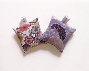 Set of Two Silk Lavender Sachets Bags in Japanese kimono Silk Fabric Floral & Mauve
