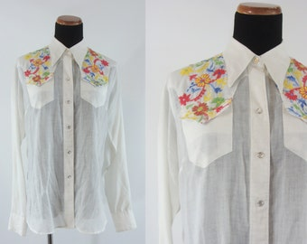 SALE Vintage Fifties Blouse - 1950's Embroidered Western Shirt - 50's Long Sleeve Rockmount Ranch Wear Button Down Top - XL White Blouse
