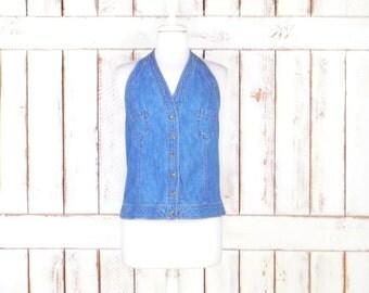 90s blue cotton denim halter top/blue jean denim halter/button down halter top