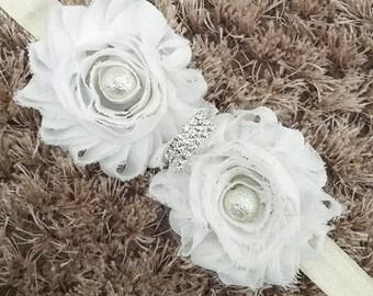 White Chiffon Headband, Shabby Chic Newborn Headband Prop Baby Headband, Vintage Style Double Flower Glass Pearl Bead Crystal Headband Gift
