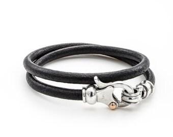 LEATHER SILVER BRACELET/  silver sterling bracelet/ silver dot gold 9k clasps / men's leather bracelet/ black leather  bracelet/handmade