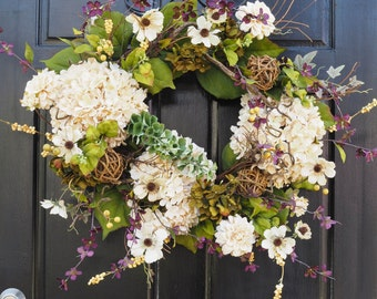 All season hydrangea and grapevine ball wreath.