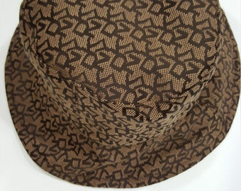90s Vintage DKNY Donna Karan Classic Brown Logomania Bucket Hat - unisex, mod - purchased at Singapore's Changi Airport's Duty Free Shop