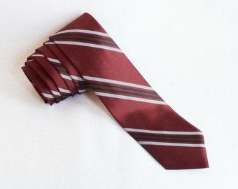 Vintage Striped Necktie - Burgundy Gray Black Diagonal Stripes - Superba - Vintage 1970's Tie