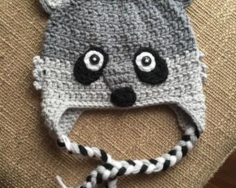 Crochet Raccoon Woodland Hat