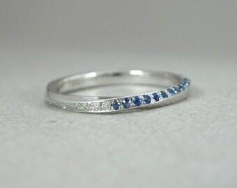 Sapphire mobius wedding ring, Diamond mobius ring, Mobius diamond ring, Gold Sapphire infinity ring, mobius band, Sapphire mobius band.