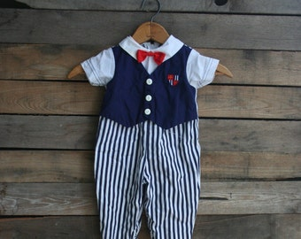 Vintage Red, White, & Blue Children's Striped Romper with Bow Tie Size 6-9 Months