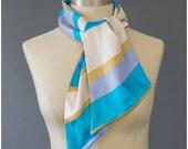 Striped Silk Scarf - Mod Scarf - 60s Scarf - Reversible Scarf - Ascot Scarf - Silk Neck Scarf - 1960s Scarf - Striped Scarf