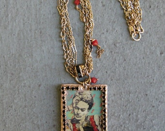 REDUCED Frida with Fishes - Noah Gallo-Brown - Necklace/Gold/Crystal/Multi Strand/Green/Red