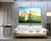 Girl riding a horse, fantasy art, Horse Painting on Canvas, goddess art, big horse art, woman on a horse, acrylic painting, Ooak