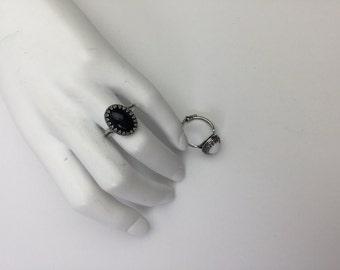 onyx ring cocktail ring vintage glass ring vintage ring black ring white stone ring stacking ring bridesmaid gift | Stark II stone ring