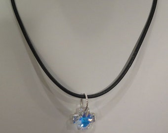 Necklace - Swarovski Crystal Cross - Thin Real Leather - Silvertone Ring - Choker Style