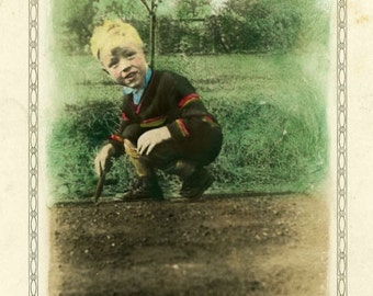 "Vintage Hand Colored Photo ""Looking for Worms"" Boy Snapshot Antique Photo Black & White Photograph Found Paper Ephemera Hand Tinted - 163"