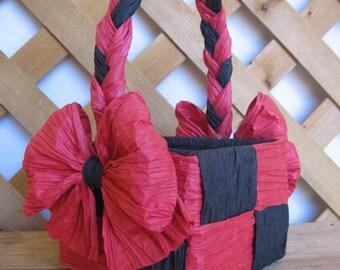 "Paper Gift Basket, Small Gift Basket, Paper Twist Basket, Red & Black Paper Basket, 4"" Basket, Candy Basket, Storage SnowNoseCrafts"