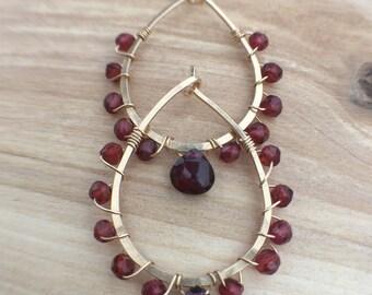 Garnet gemstone 14K gold filled hoop earrings medium gold hoops teardrop earrings hammered hoops garnet wrapped earrings january birthstone