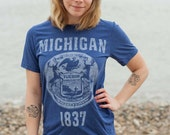 Michigan State Seal T-Shirt. Vintage StyleState of Michigan Unisex Men's Slim Fit and Women's Tee