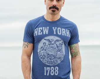 New York State Steal T-Shirt. Vintage Style Soft Retro East Coast Shirt Unisex Men's Slim Fit and Women's Tee