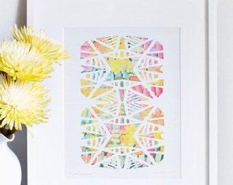 Monarch Print- abstract mixed media watercolor print