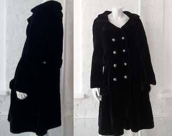 Black Faux Fur Coat Large 1960s Vintage 60s Long Princess Coat Pea Coat Double Breasted Mod Goth Witch Fake Fur Coat Glam Rock Vegan Coat