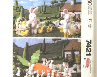 "Stuffed Bunny Doll Pattern, McCalls 7421, Plush Rabbit Dolls, 15"" 6"" 4"" Dolls, Easter Basket Chick Egg Carrot Toy Sewing Pattern 1980s UNCUT"